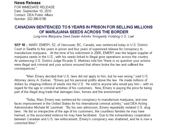 CANADIAN SENTENCED TO 5 YEARS IN PRISON