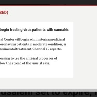 Hospital to begin treating virus patients with cannabis | The Times of Israel